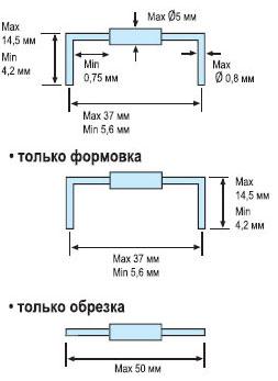 Формовка и обрезка выводов устройством Hakko 153